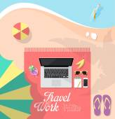 Beach workspace — Stock vektor
