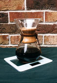 Vintage wooden coffee filter — Stockfoto