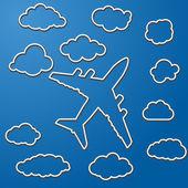 Linjära flygplan med moln — Stockvektor