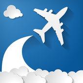 Paper airplane on blue — Stock vektor