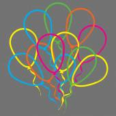 Multicolored linear balloons — Stock Vector