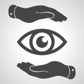 Hands take care of the eye icon — Stock Vector