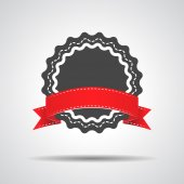 Badge with red ribbon icon - vector illustration — Stock Vector