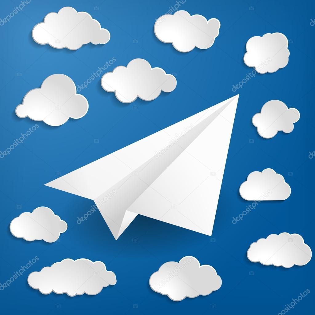 与云在蓝色背景上的白色纸飞机 — 图库矢量图片#67350915