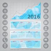 Polygonal 2016 year calendar — Stock Vector
