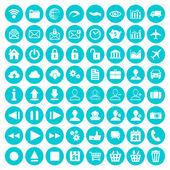 Blue flat icon set — Stock Vector