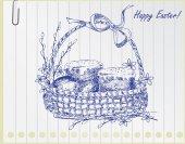Vintage easter basket — Vector de stock