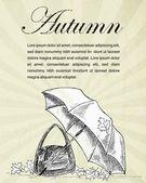 Jesienne liście i parasol — Wektor stockowy