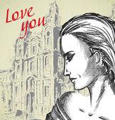Romantic sketch girl — Vector de stock