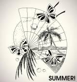 Artistic summer holiday — Stock Vector