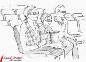Family in 3d cinema — Stock Vector