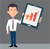 Homme d'affaires, présentation de l'information sur le tablet pc — Vecteur