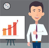 Businessman presenting a chart — Stock Vector