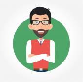Businessman in glasses smiling — Stock vektor
