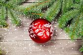 Christmas tree with ball — Stock Photo
