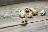 Quail eggs on wooden planks — Stock Photo
