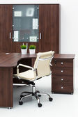 Desk, chair and bookcase — Stockfoto
