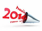 Happy new year 2016 megaphone on a white background — Stock Photo