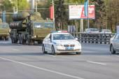 Moscow, RUSSIA - MAY 9 2015: Military transportation on its back way after Victory Day Parade — Stock Photo