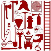 Contours of fire fighting equipment, tools and accessories — Stock Vector