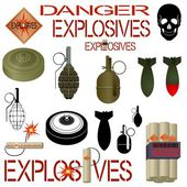 Military and industrial explosives — Stock Vector