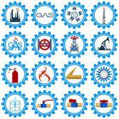 Set icons gas production industry — Vetor de Stock