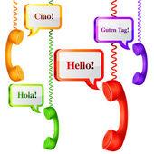 Telephone Handset with Talk Bubbles — Cтоковый вектор