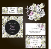 Invitation, save the date cards. Flowers invitation set.  — Vettoriale Stock
