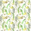 Seamless pattern with silhouettes of flowers and grass, drawing by watercolor, hand drawn illustration — Photo #74970777