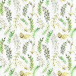 Seamless pattern with silhouettes of flowers and grass, drawing by watercolor, hand drawn illustration — Photo #74970987
