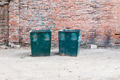Two green dustbins — Stock Photo