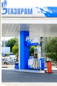 ASTRAKHAN  RUSSIA -August 16, 2014 illustrative editorial photo of petrol station with GAZPROM Company logo. Gazprom is the most popular market leader in Russia in natural gas and petrol distribution. — 图库照片