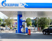 ASTRAKHAN  RUSSIA -August 16, 2014 illustrative editorial photo of petrol station with GAZPROM Company logo. Gazprom is the most popular market leader in Russia in natural gas and petrol distribution. — Foto Stock
