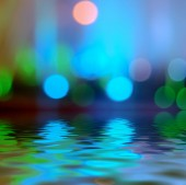 Reflection in water Bokeh background light blue color — Stock Photo