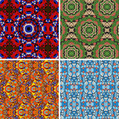 Collection of square colorful wallpapers. Seamless vector pattern oriental geometrical texture set of four — Stock Vector