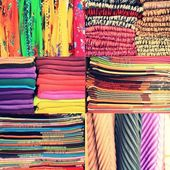 Set of textile material in a stack. Colorful cloth collection of images. Different colors of fabric,  great set — Foto de Stock