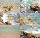 Sea surf on a rocks and calm water of the sea - collection of images — Stock Photo