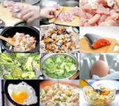Food preparation. Set of different images food ingredients in raw and prepared state — Stock Photo