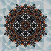 Mavi üçgen arka plan üzerinde Mandala tasarım — Stok Vektör