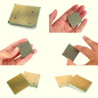 Modern CPU in mens hands set of images. Back side of microprocessor with golden legs — Stock Photo #58878855