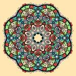Mandala vector. Stylized indian tribal flower like chakra or yantra symbol over yellow background. — Stock Vector #61382051