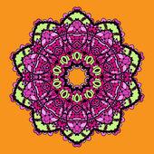 Violet stylized mandala over bright orange background. Vintage looking indian asian round pattern design. — Stock Vector