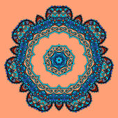 Round Mandala. Flower like Ornament Pattern. Vintage decorative elements. Hand drawn wallpaper. Islam, Arabic, Indian, Ottoman, Asian motifs on orange background — Stock Vector