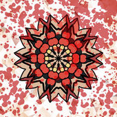 Stylized watercolor abstract design element, mandala ornament with red paint splashes over — Stock Vector