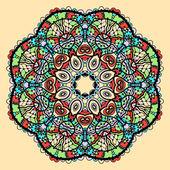 Mandala vector. Stylized indian tribal flower like chakra or yantra symbol over yellow background. — Stock Vector
