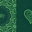 Ornamental green vector square flyer card design. Invitation card. Heart shaped vintage decorative element. Hand drawn background. Islamic, arabic, indian, ottoman, asian motifs. Flayer template — Vettoriale Stock  #61466541