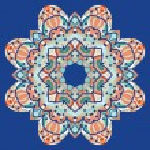 Ornamental colorful mandala. Vector square flyer card design. Invitation card. Vintage decorative element. Hand drawn background. Islamic arabic, indian, ottoman, asian motifs. Flayer template on blue — Stock Vector #61466631