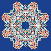 Ornamental colorful mandala. Vector square flyer card design. Invitation card. Vintage decorative element. Hand drawn background. Islamic arabic, indian, ottoman, asian motifs. Flayer template on blue — Stock Vector
