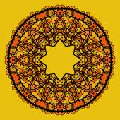 Round lace patterd mandala like design in yellow color. Art vintage decorative elements. Hand drawn tribal style yantra. Flayer template oriental style motif. — Vecteur
