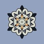 Mandala on light blue gray background. Vintage design elements. Tribal  like motif. Flayer template unusual — Stock Vector #63740289